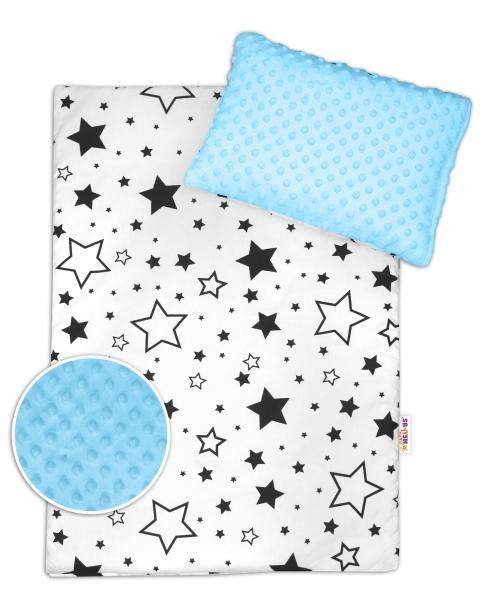 Baby Nellys 2-dílná sada do kočárku s minky - černé hvězdy a hvězdičky/minky sv. modrá