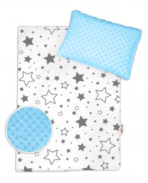 Baby Nellys 2-dílná sada do kočárku s minky - šedé hvězdy a hvězdičky/minky sv. modrá