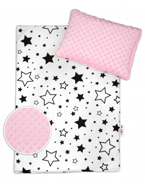 Baby Nellys 2-dílná sada do kočárku s minky - černé hvězdy a hvězdičky/minky růžová