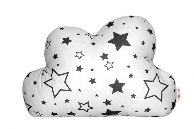 Baby Nellys Mráček - dekorační polštářek - černé hvězdy a hvězdičky