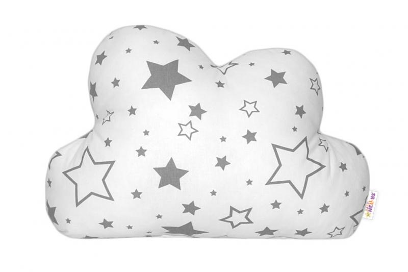 Baby Nellys Mráček - dekorační polštářek - šedé hvězdy a hvězdičky
