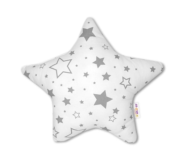 Baby Nellys Hvězdička - dekorační polštářek - šedé hvězdy a hvězdičky