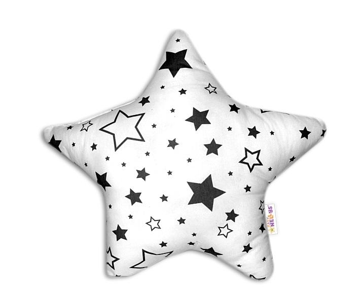 Baby Nellys Hvězdička - dekorační polštářek - černé hvězdy a hvězdičky
