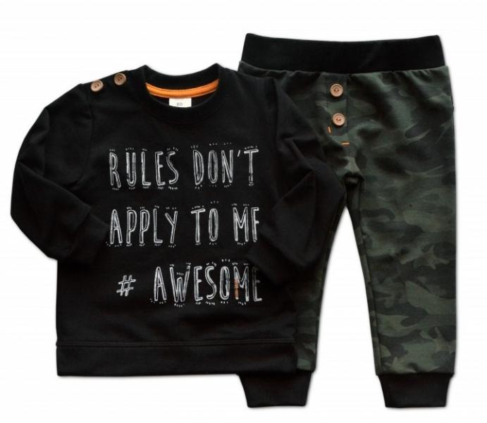 Sada triko/mikinka + tepláčky Army - černá/khaki, vel. 92