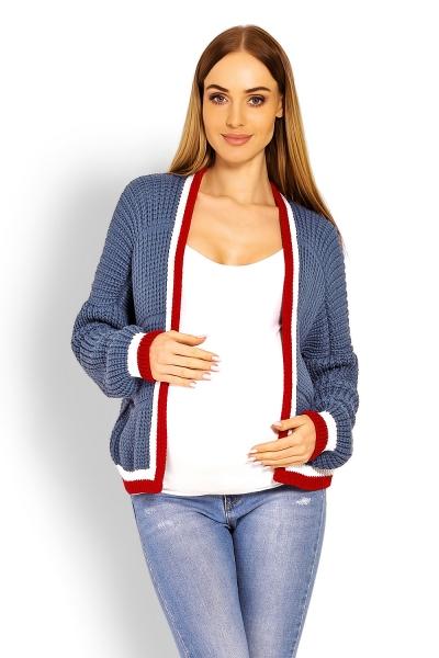 Be MaaMaa Těhotenský svetřík/kardigan s výrazným lemováním - jeans