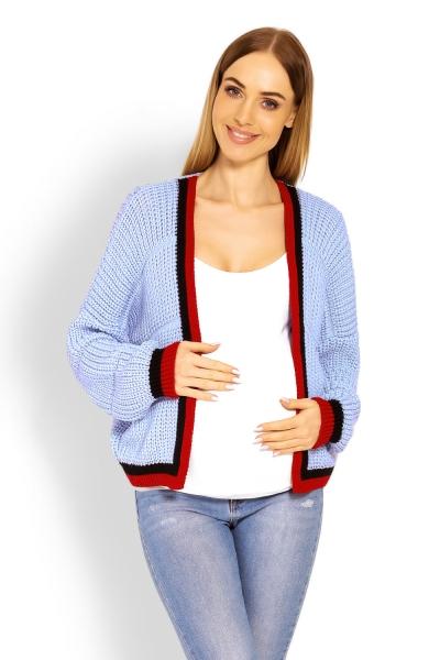 Be MaaMaa Těhotenský svetřík/kardigan s výrazným lemováním - sv. modrý