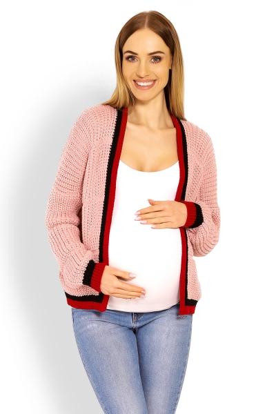 Be MaaMaa Těhotenský svetřík/kardigan s výrazným lemováním - růžový