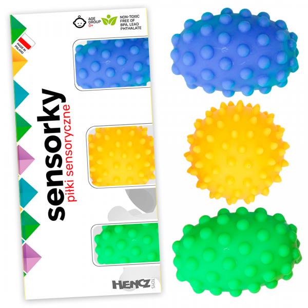Hencz Toys Edukační barevné míčky/ježečci, 3ks v krabičce
