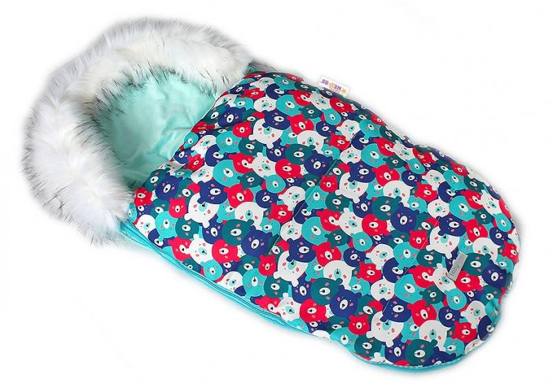 baby-nellys-fusak-spacacek-105x55-velvet-winter-lux-barevni-medvedi