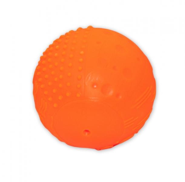 Edukační pískací míček, 10x10cm - oranžový
