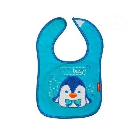 BOBO BABY Třívrstvý bavlněný bryndáček Tučňák - modrý