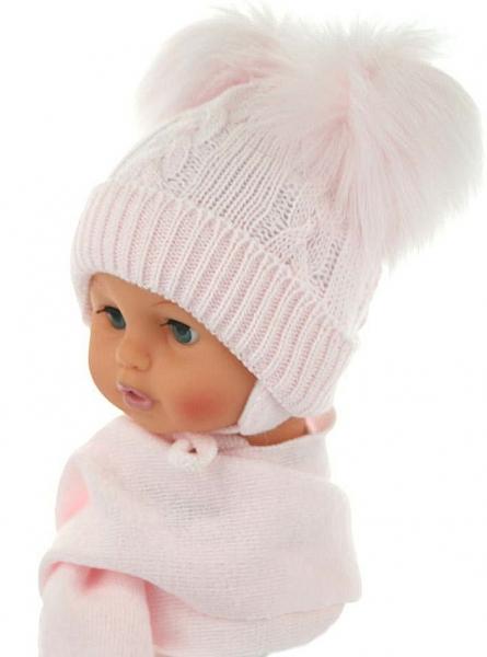 BABY NELLYS Zimní čepička s šálou - chlupáčkové bambulky - sv. růžová
