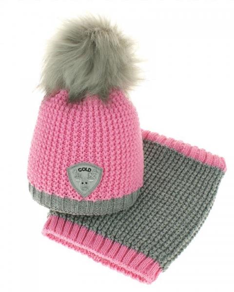 Podzimní/zimní čepice s komínkem - chlupáčková bambulka - růžová/šedá