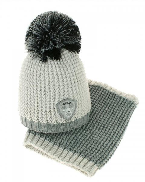 Podzimní/zimní čepice s komínkem - bambulka - sv. šedá/šedá