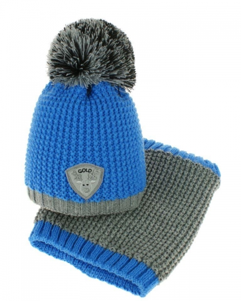 Podzimní/zimní čepice s komínkem - bambulka - modrá/šedá