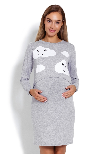 Be MaaMaa Těhotenská, kojící noční košile Mráčky  - sv. šedá, vel. L/XL