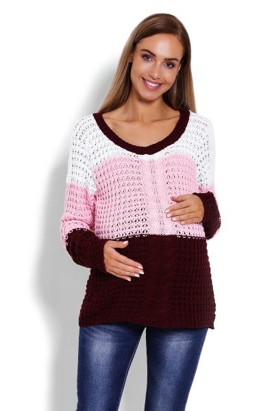 Be MaaMaa Těhotenský proužkovaný svetřík - růžová/bordo, vzor: copánek
