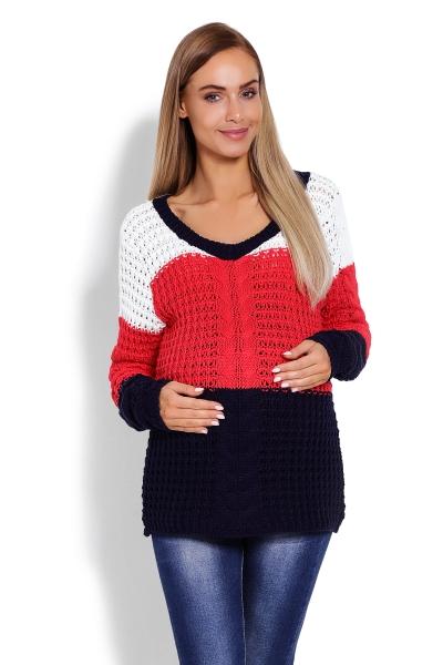 Be MaaMaa Těhotenský proužkovaný svetřík - červená/granát, vzor: copánek
