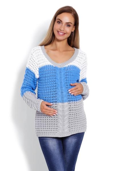 Be MaaMaa Těhotenský proužkovaný svetřík - modro/šedý, vzor: copánek