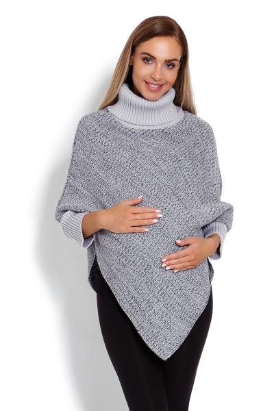 Be MaaMaa Těhotenské pončo s dlouhým rukávem - rolák, šedý melírek