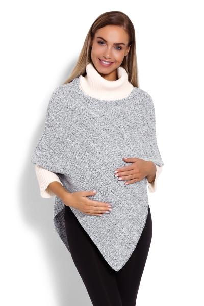 Be MaaMaa Těhotenské pončo s dlouhým rukávem - rolák, krémový melírek