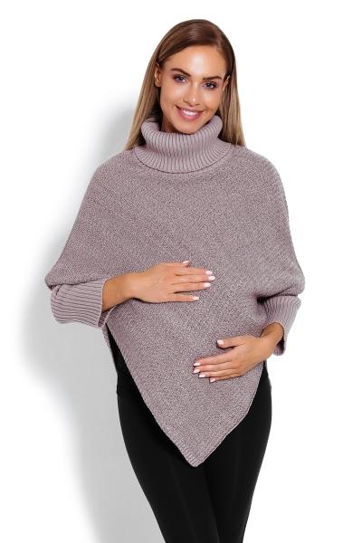 Be MaaMaa Těhotenské pončo s dlouhým rukávem - rolák, béžový melírek