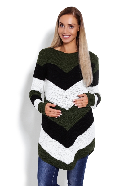 Be MaaMaa Prodloužený těhotenský svetřík, šikmé pruhy - khaki