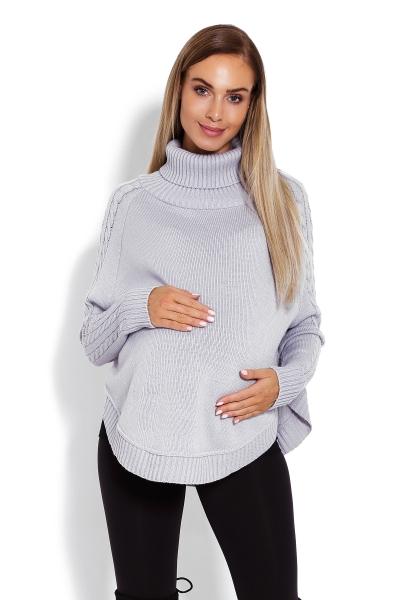 Be MaaMaa Těhotenské pončo s dlouhým rukávem - oválný střih, šedé