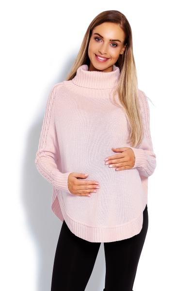 Těhotenské pončo s dlouhým rukávem - oválný střih, růžové, Velikost: UNI