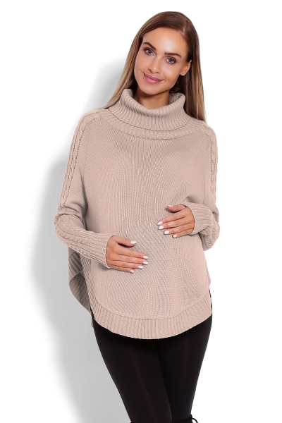 Be MaaMaa Těhotenské pončo s dlouhým rukávem - oválný střih, Latte