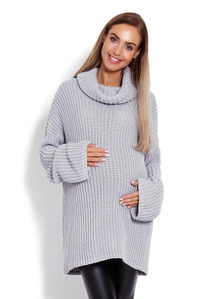 Be MaaMaa Teploučký,těhotenský svetřík, rolák  - šedý
