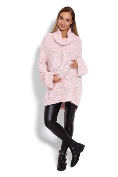 Be MaaMaa Teploučký,těhotenský svetřík, rolák  - růžový