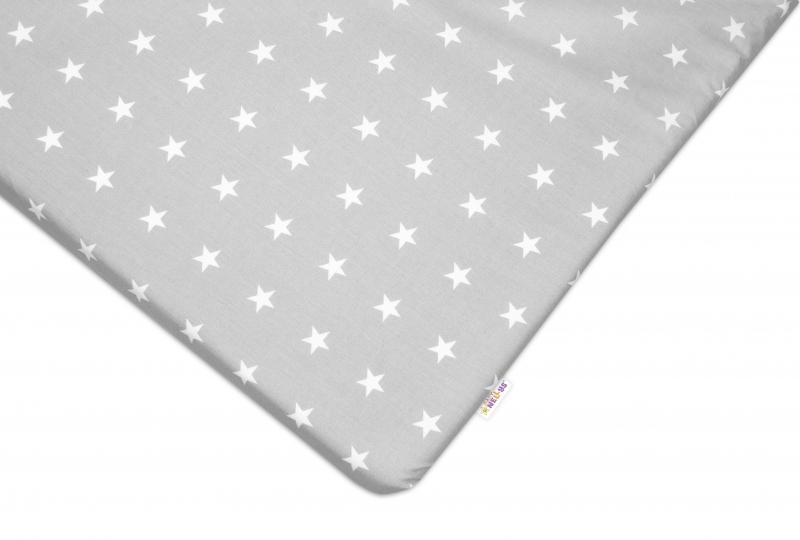 Bavlněné prostěradlo 60x120 cm - Hvězdičky bílé v šedé