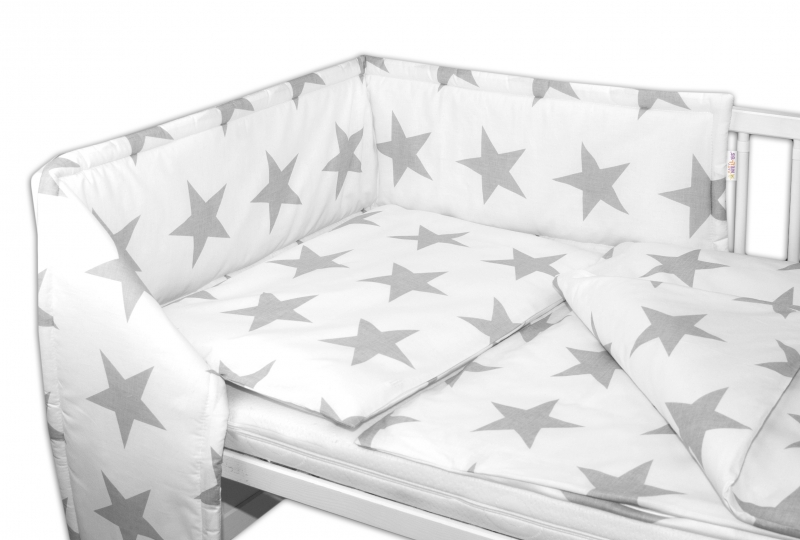 3-dílná sada - mantinel s povlečením - Big Stars bílé, 135 x 100