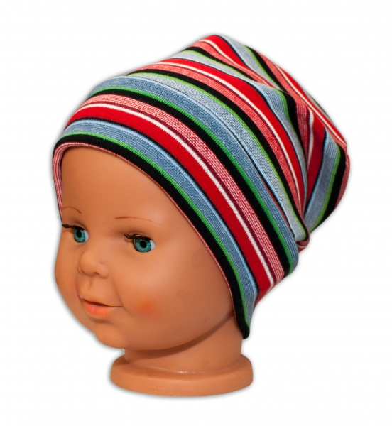 Bavlněná čepička Baby Nellys ® - Veselé pruhy červené, Velikost: 42/54 čepička obvod
