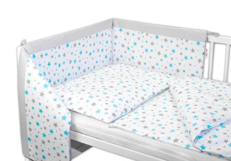 Baby Nellys 3-dílná sada - mantinel s povlečením - Hvězdičky mini 135x100 cm - tyrkysové