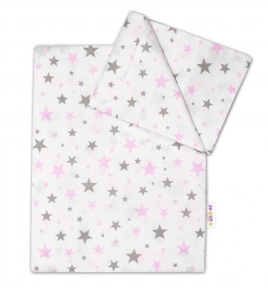 Bavlněné povlečení do postýlky - Hvězdičky mini - růžové
