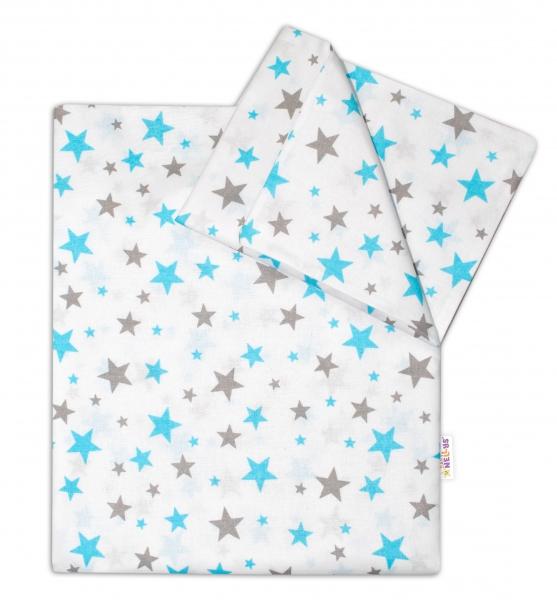 Bavlněné povlečení do postýlky - Hvězdičky mini 135x100 cm- tyrkysové