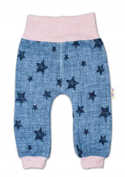 Tepláčky Hvězdičky jeans vel. 86 - růžové, Velikost: 86 (12-18m)