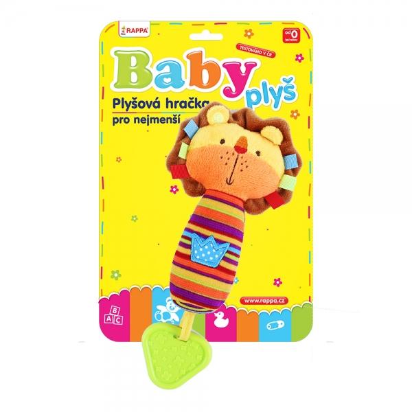Chrastítko plyšové s kousátkem BABY lev se zvukem