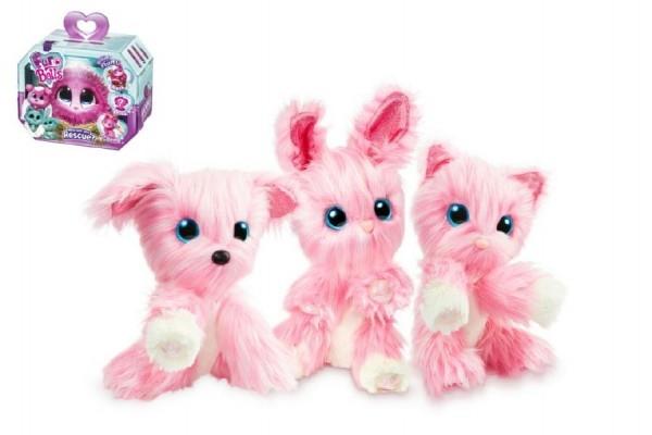 Zvířátko FUR BALLS Touláček pejsek/kočka/králík růžový plyš 10cm s doplňky v krabici