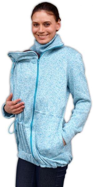 Nosící fleecová mikina - pro nošení dítěte v předu i vzadu - tyrkysový melírek, vel. L/XL