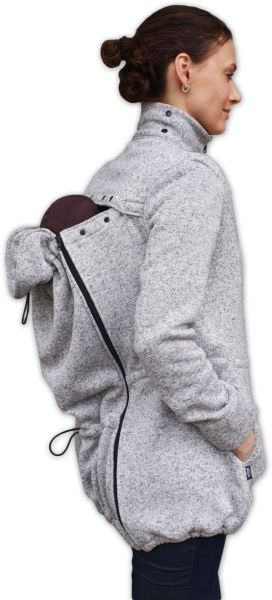 JOŽÁNEK Nosící fleecová mikina - pro nošení dítěte v předu i vzadu na těle - šedý melír