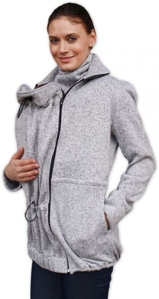 Nosící fleecová mikina - pro nošení dítěte v předu i vzadu na těle - šedý melír, vel. L/XL