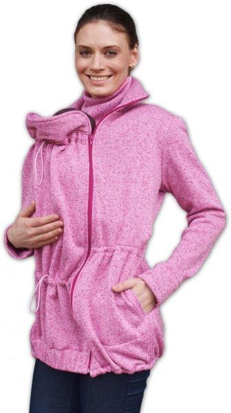 Nosící fleecová mikina - pro nošení dítěte v předu i vzadu na těle - růžový melír,vel. M/L