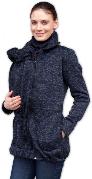 Nosící fleecová mikina - pro nošení dítěte v předu i vzadu na těle - černý melír,vel.L/XL