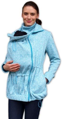 Nosící fleecová mikina - pro nošení dítěte ve předu - tyrkysový melír, vel. L/XL
