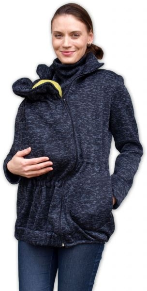 Nosící fleecová mikina - pro nošení dítěte ve předu - černý melír, vel. L/XL