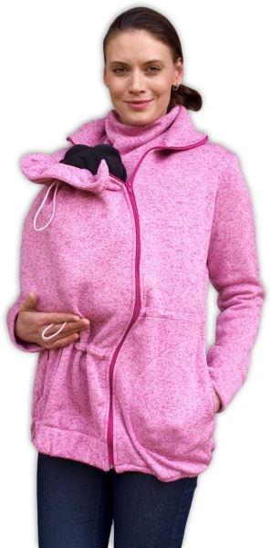 Nosící fleecová mikina - pro nošení dítěte ve předu - růžový melír, vel. M/L