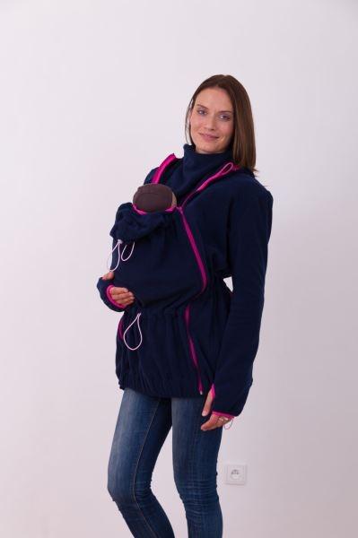 Nosící fleece mikina s kapucí - přední/zadní nošení - tm. modrá, vel. M/L